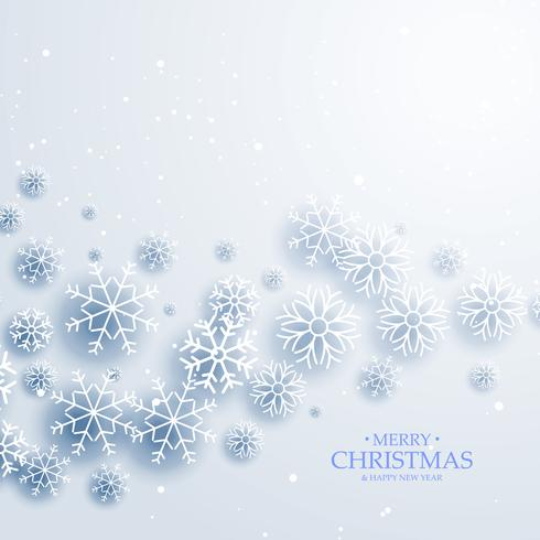elegant white background with flowing snowflakes. Merry christma