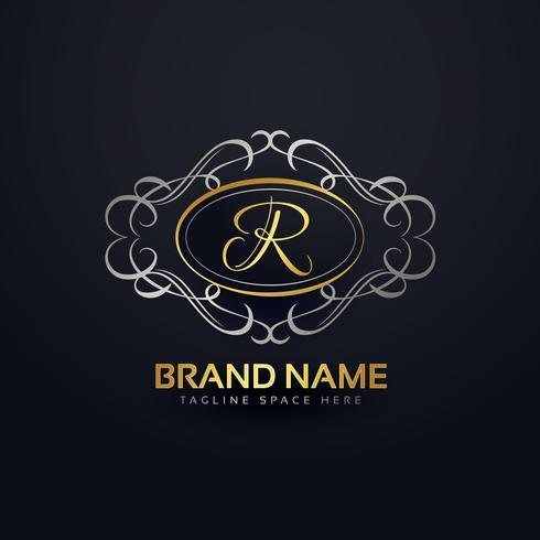 Elegante letra R, diseño de logotipo en estilo monograma floral.