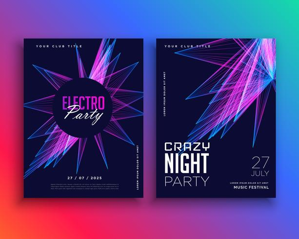 electro party music flyer template invitation - Download Free Vector ...