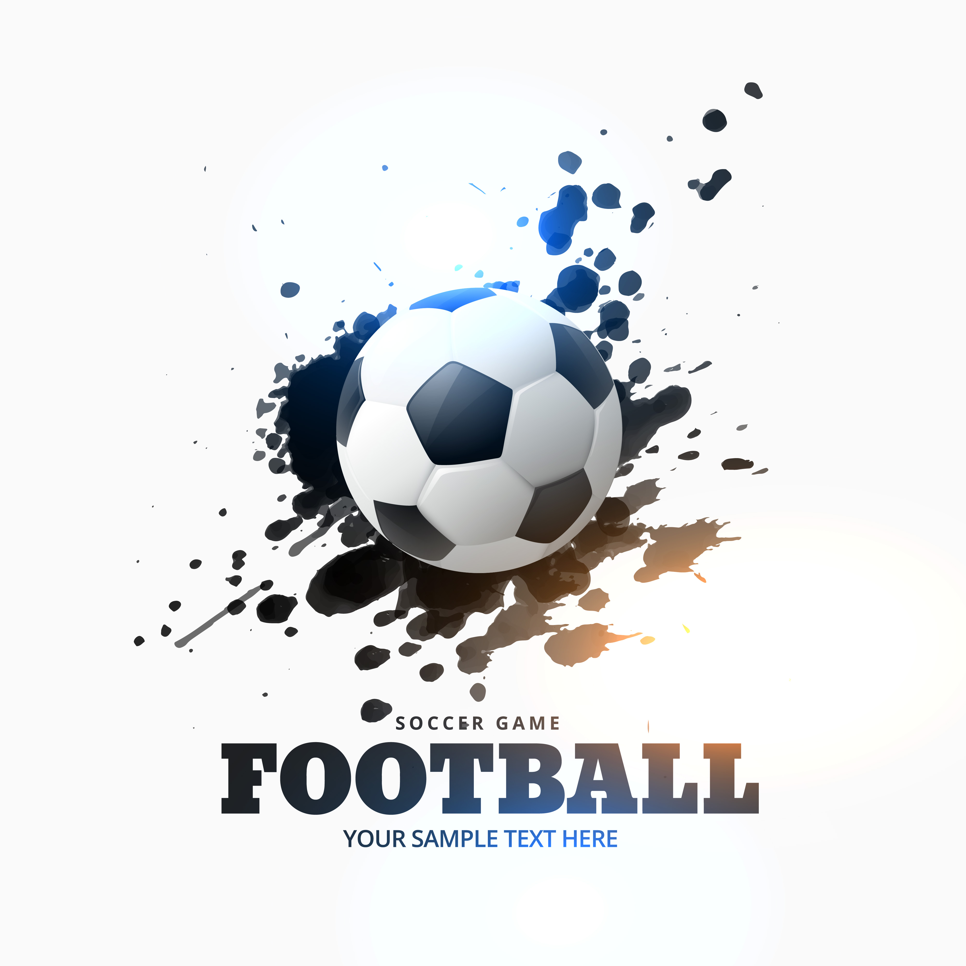 football placed on ink splash background