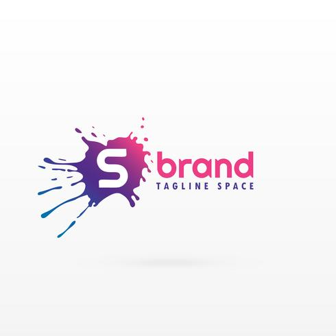 abstract ink splash logo concept template for letter S