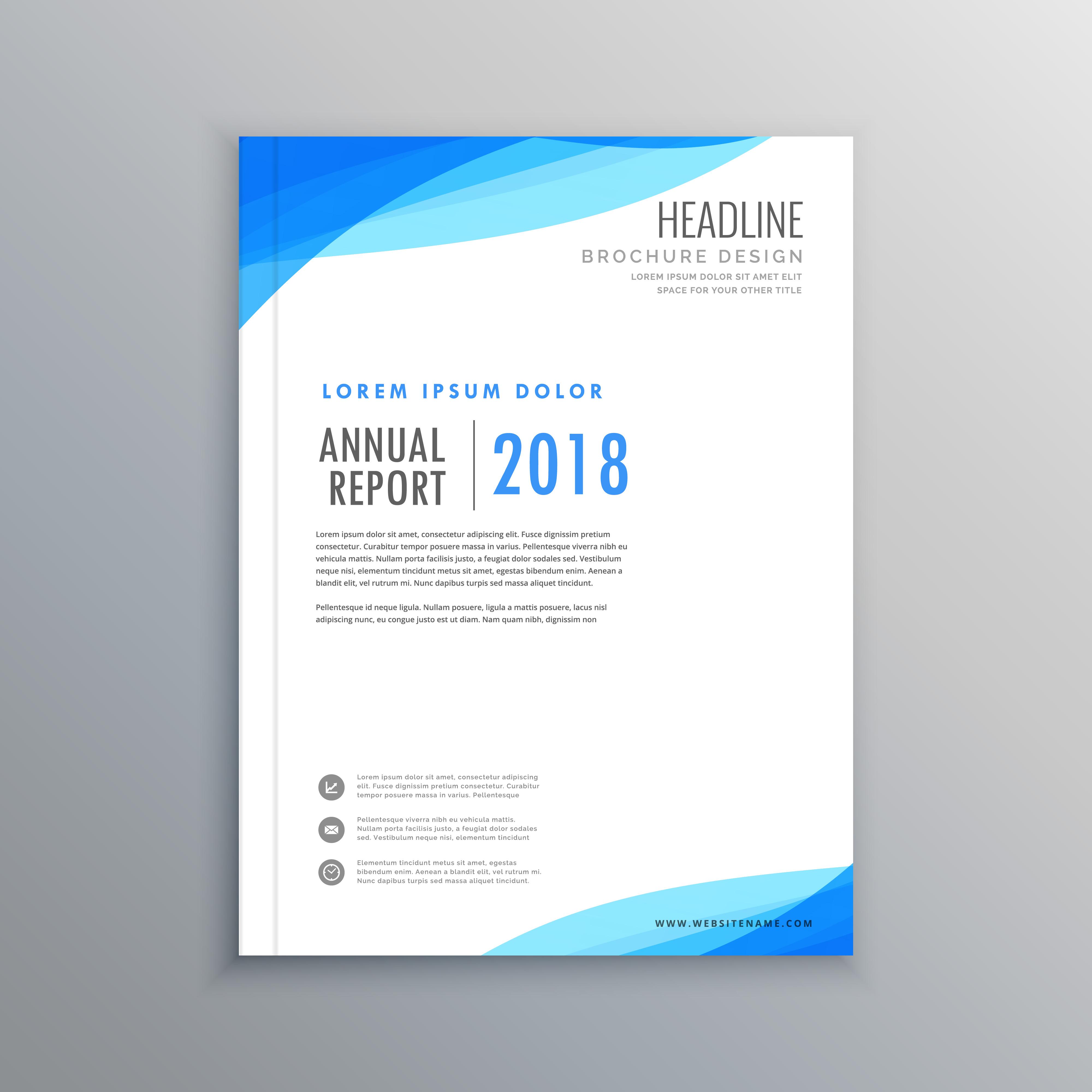 Elegant Blue Wave Business Brochure Template Download Free Vector