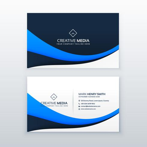 elegant blue wave business card design