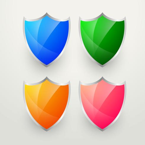 glanzende kleurrijke badges instellen