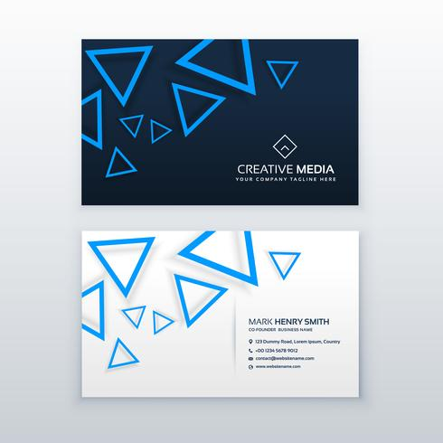 blue triangle business card vector design template