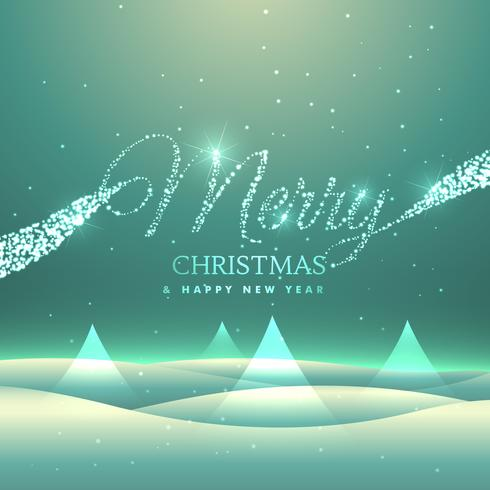 magical merry christmas greeting card design with snowly backgro