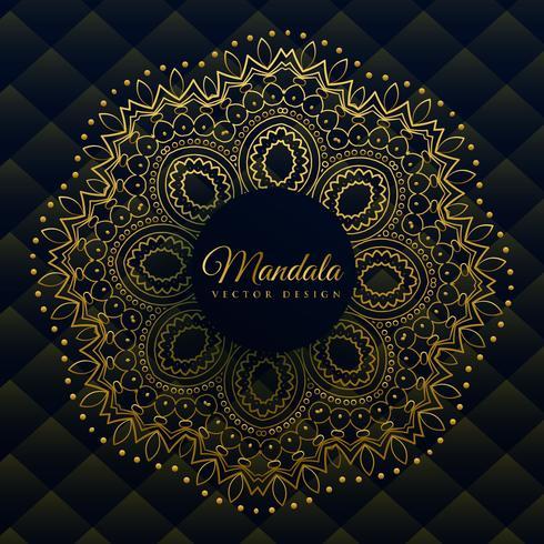 Mandala premium decorada en dorado estilo étnico.