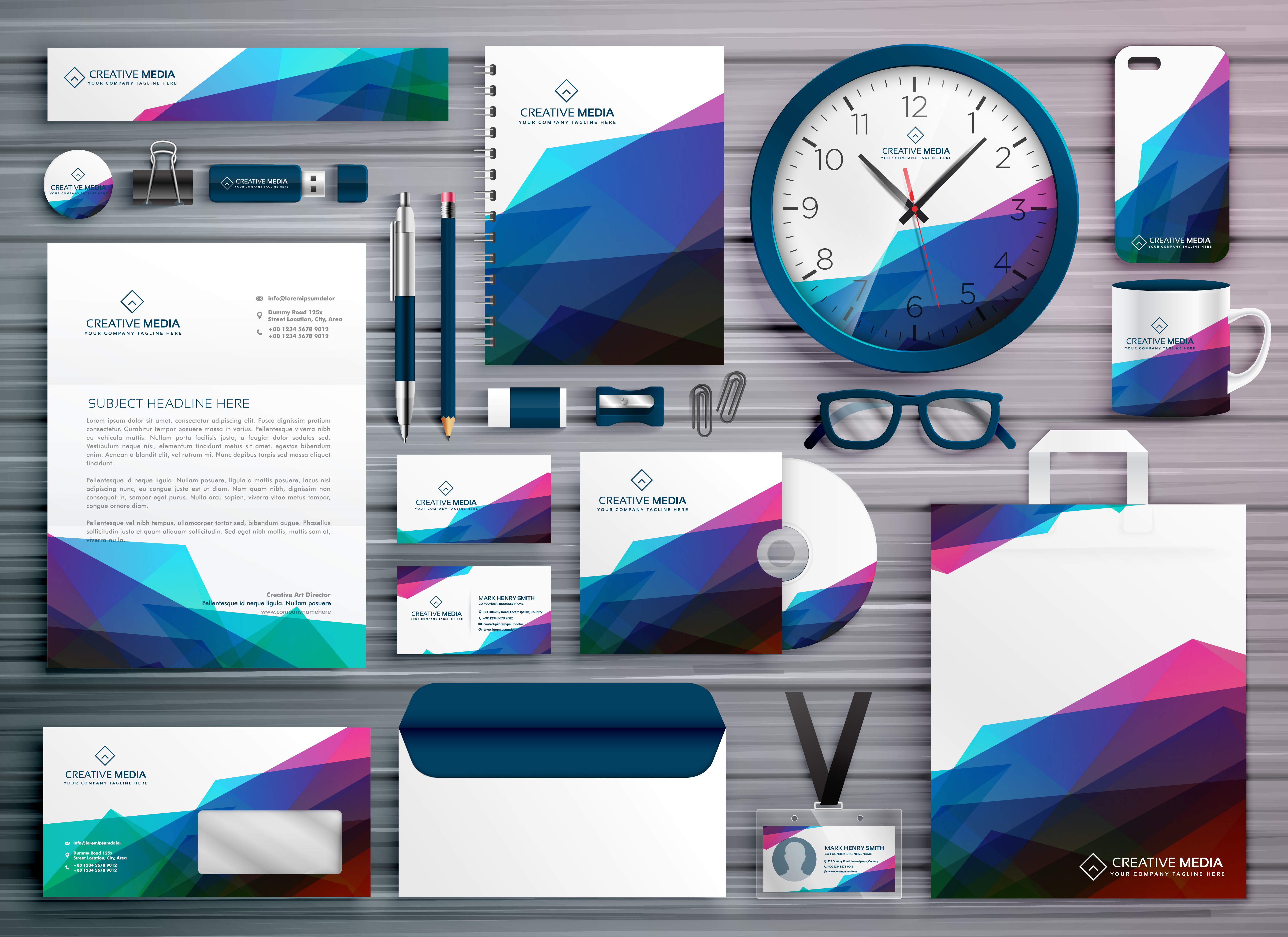 abstract business stationery corporate identity template