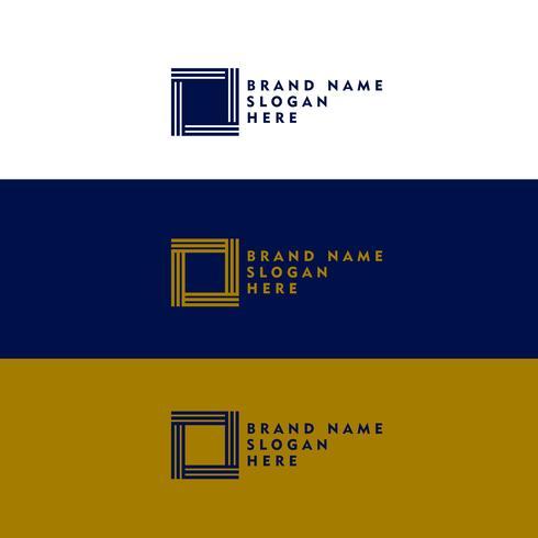 minimal square shape logo design concept