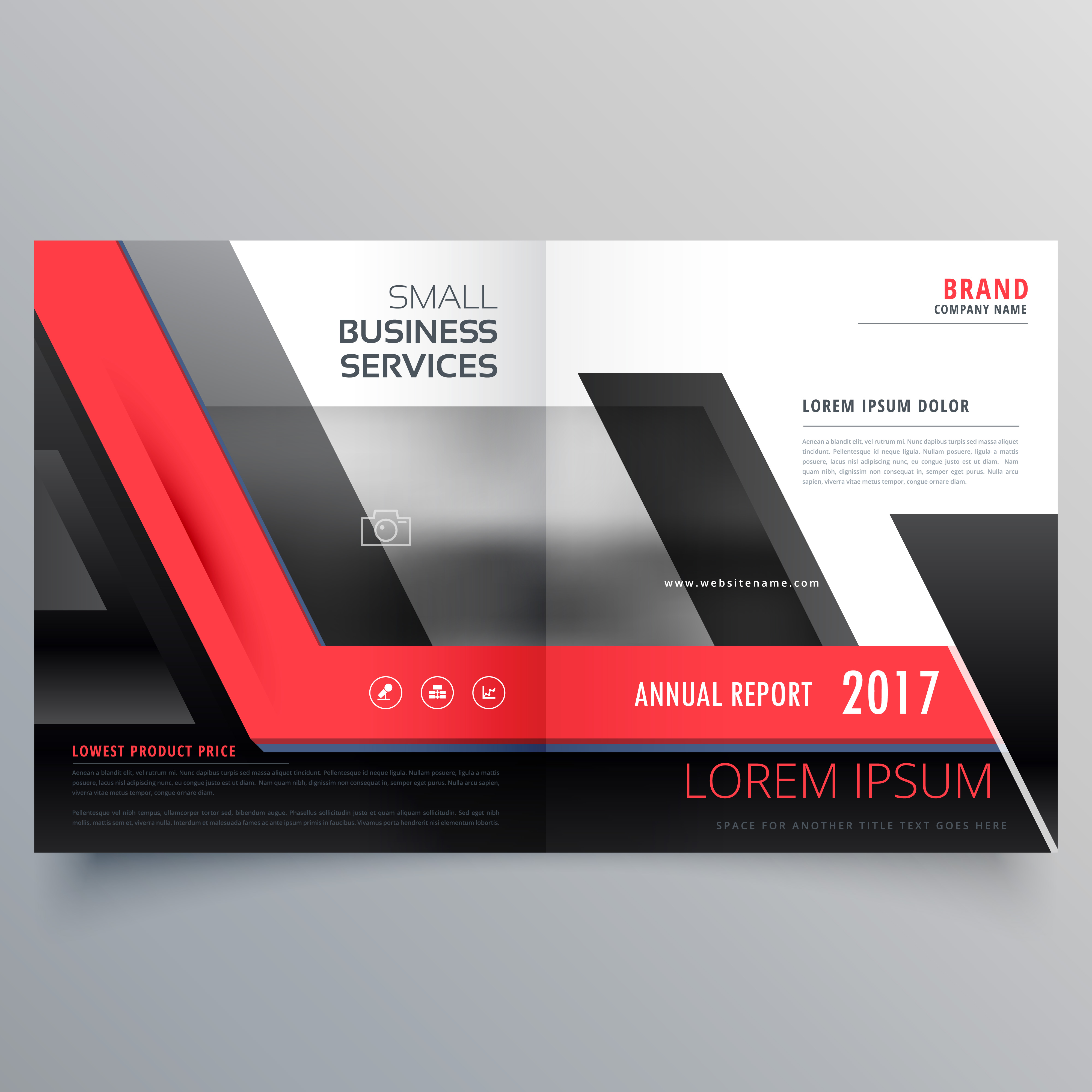 red and black bifold creative brochure design template