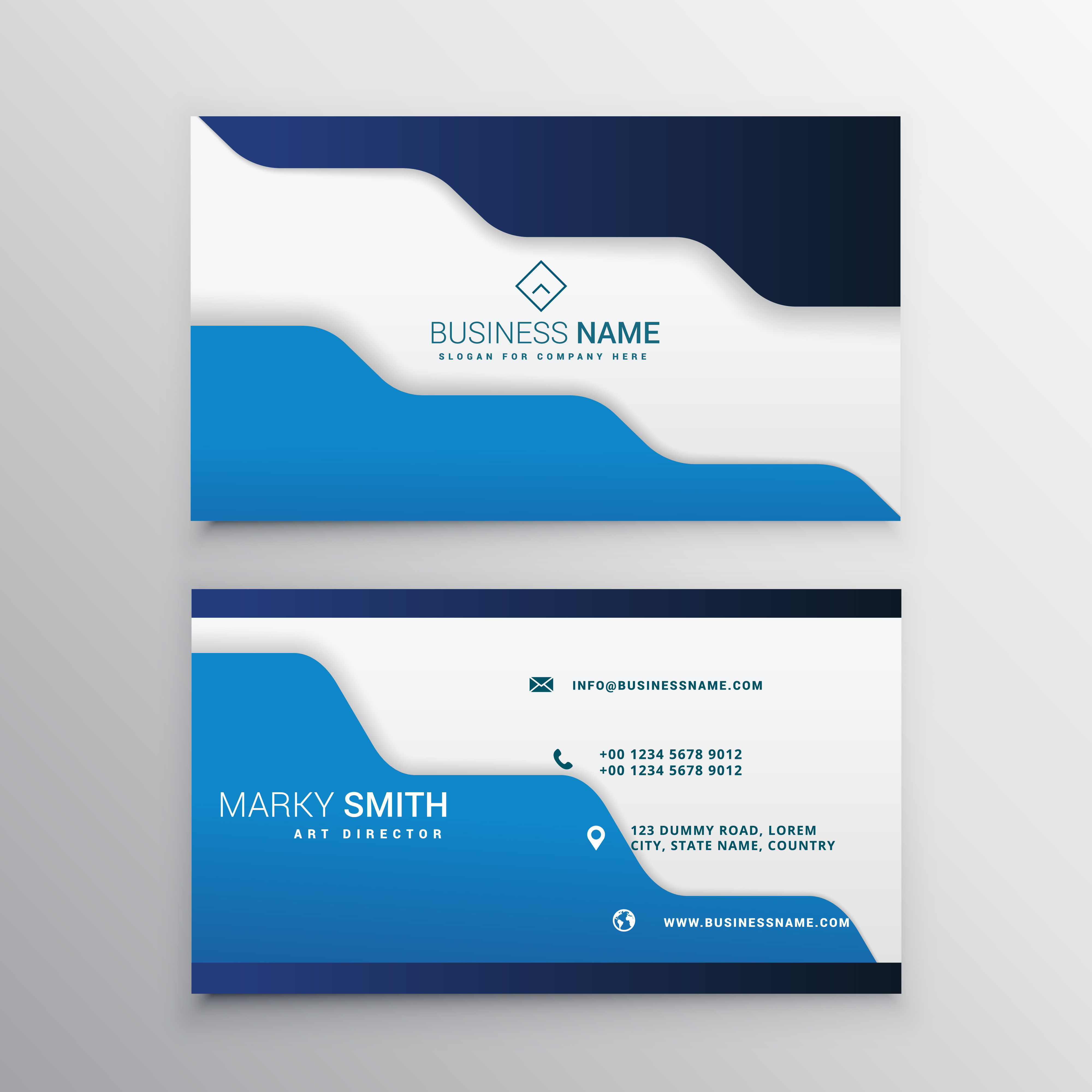 blue business card template download free vector art