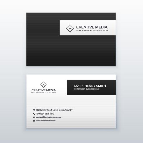 minimal black and white business card design
