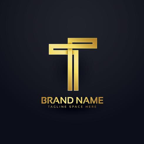 letter T logo concept design in premium golden style