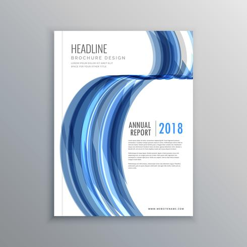 business brochure cover template design in abstract blue wavy sh