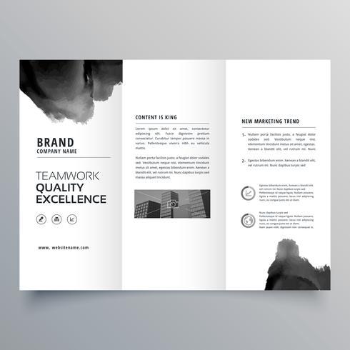 black paint trifold brochure design template
