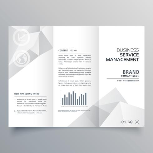 clean white trifold brochure design with abstract shapes