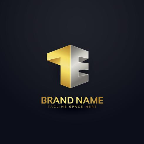 logo concept design in golden premium style for letter T and E