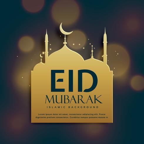 beautiful eid mubarak background with golden mosque