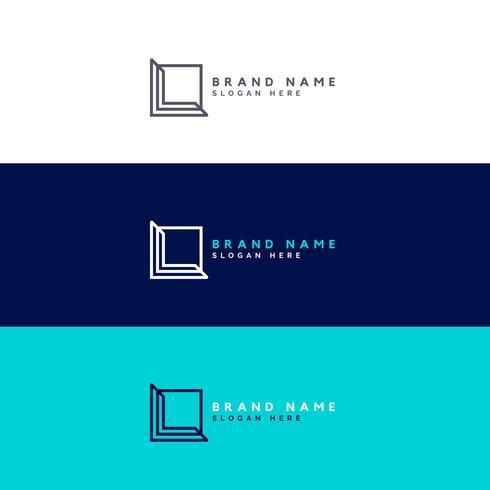 conceito de design de logotipo quadrado mínimo