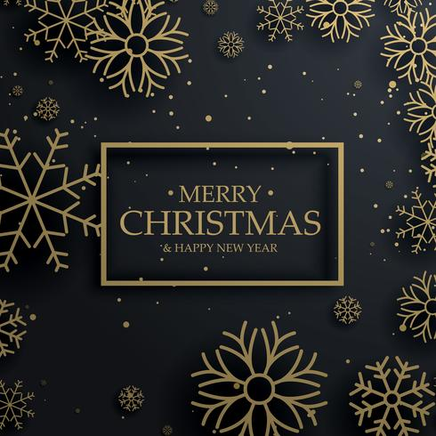 beautiful merry christmas greeting card with gold snowflakes on