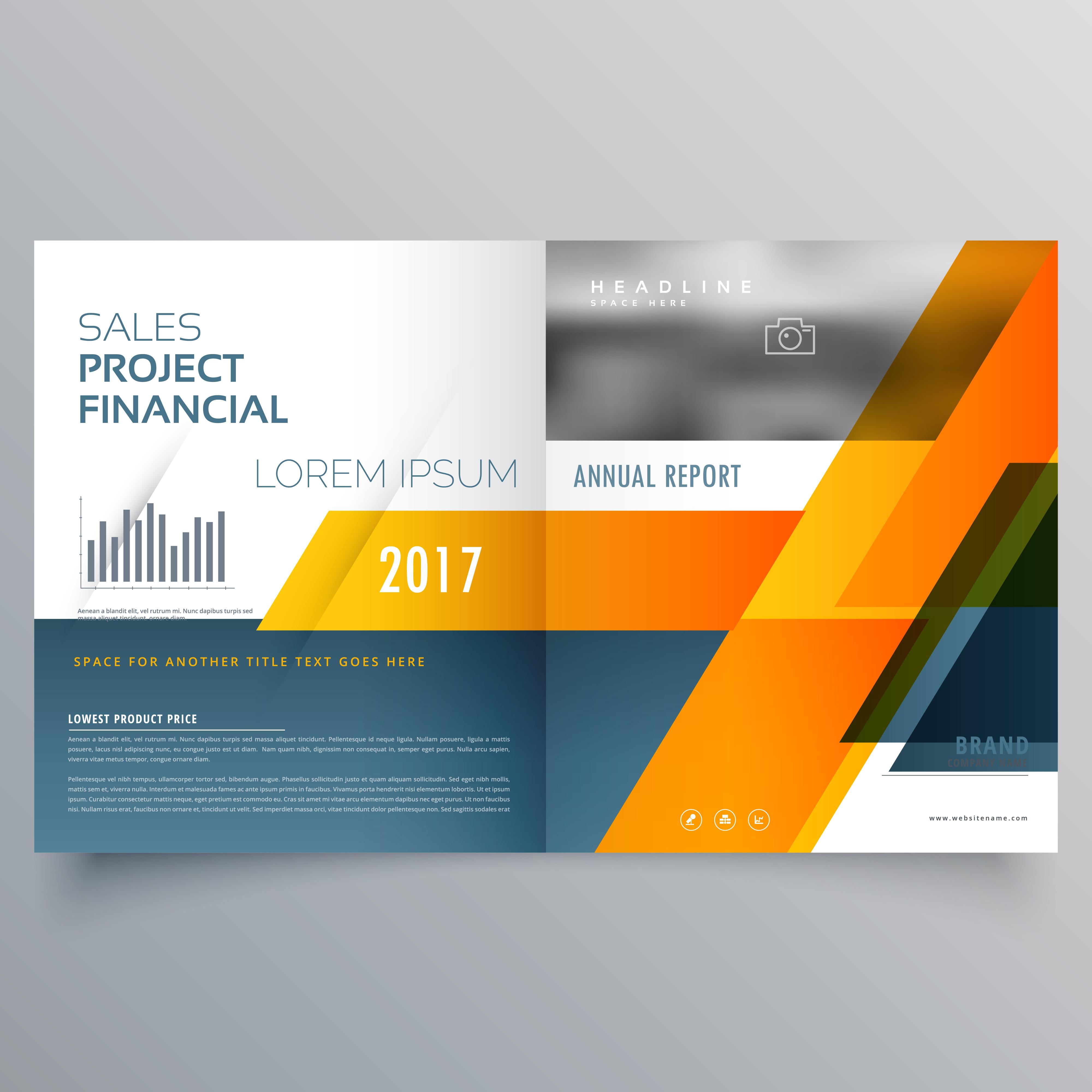 creative bi fold brochure magazine page design vector