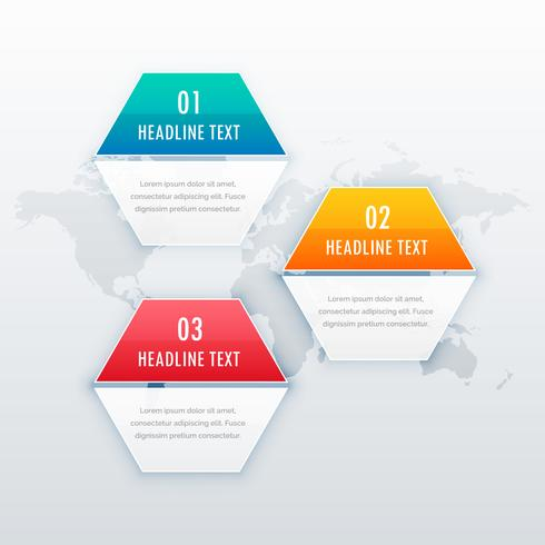 modern three steps infograph template design for web, presentati