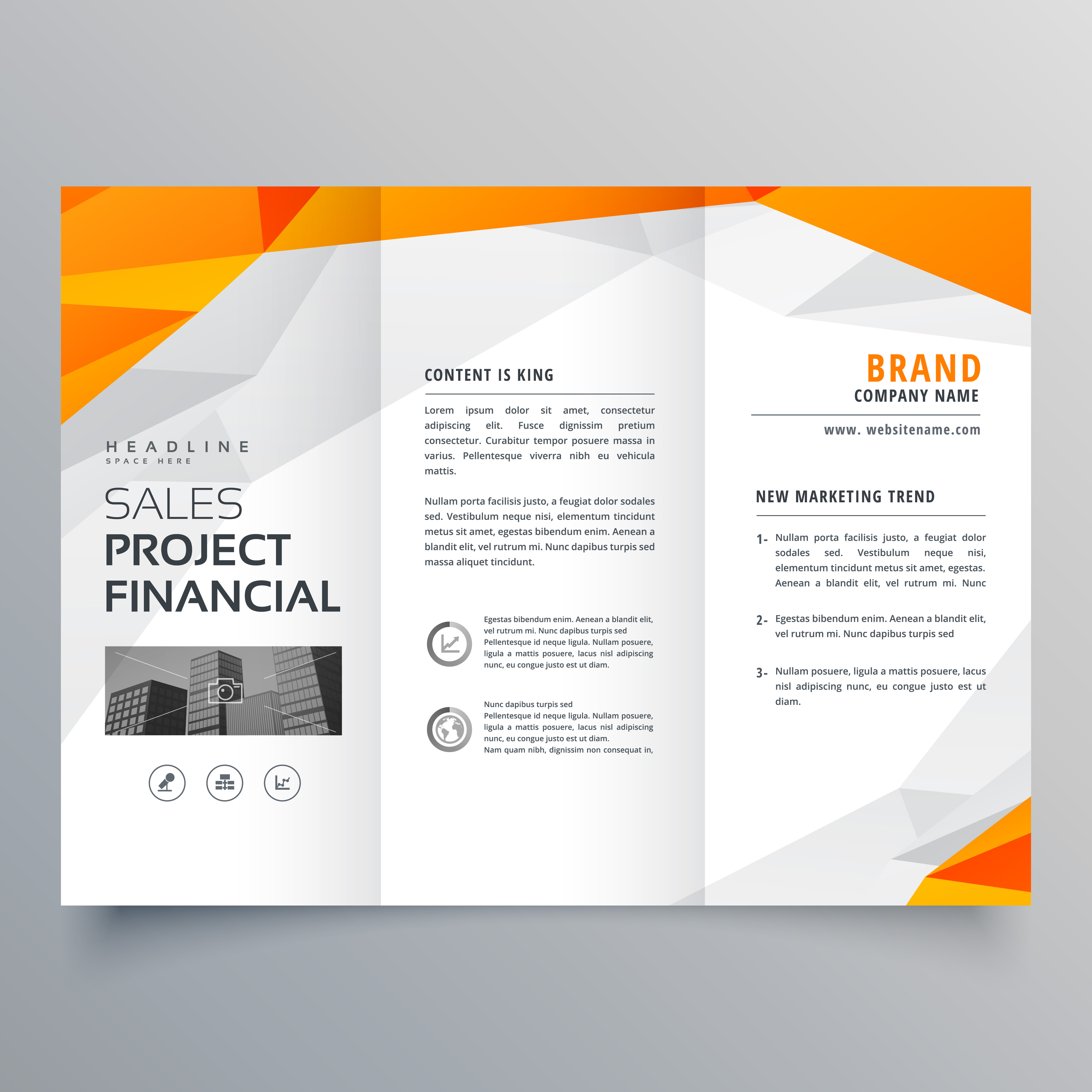 business brochure template - abstract orange trifold brochure design business template