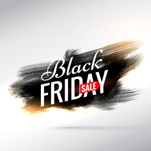 black friday sale banner with black paint brush stroke