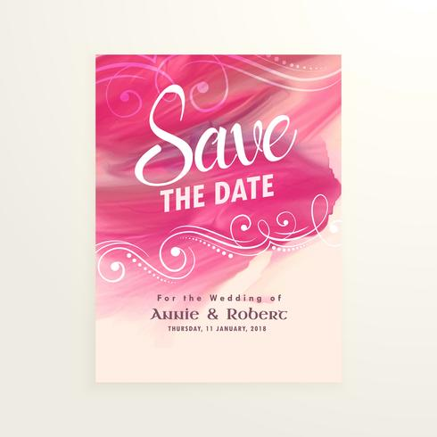 wedding invitation card with pink watercolor splash paint effect