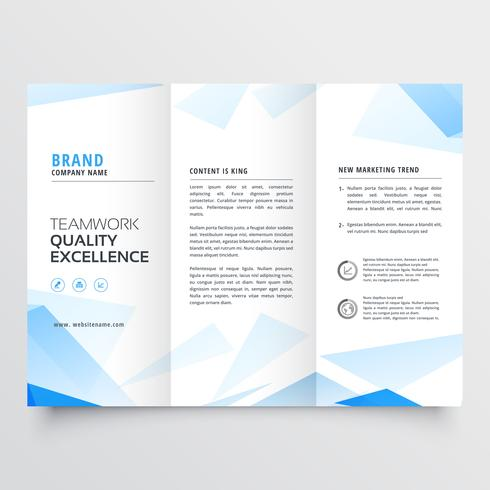 abstract blue business tri fold brochure design vector illustrat