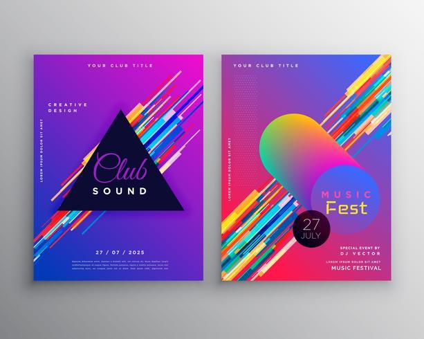 conjunto de design de modelo de panfleto abstrato vibrante música festa clube