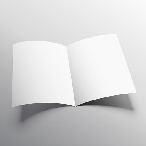 open book or bi-fold brochure mockup vector template