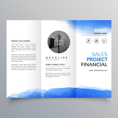 Trifold-Broschüre-Entwurfsvorlage für blaues Aquarell