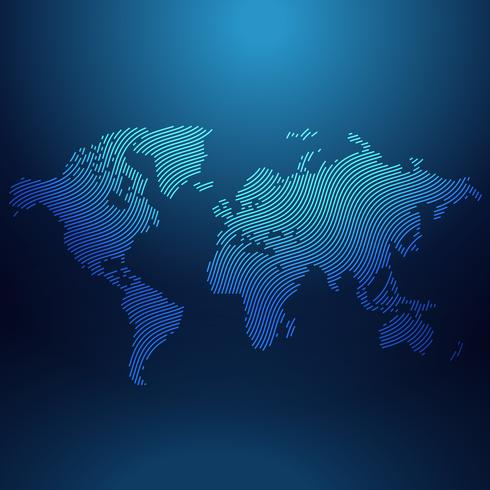blue world map in wavy style vector