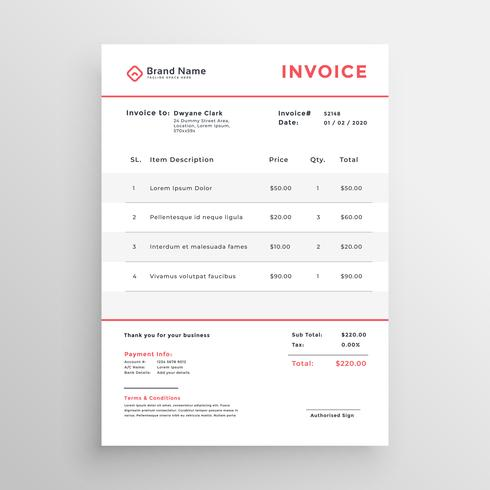 Minimal Business Invoice Template Design  Download Free Vector Art