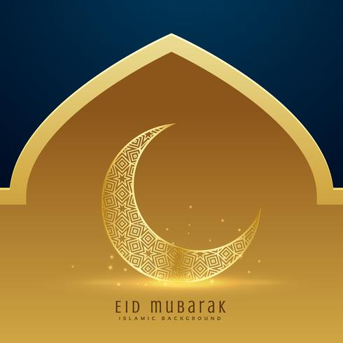 beautiful golden moon for eid mubarak festival season