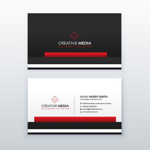 red and black professional business card design template