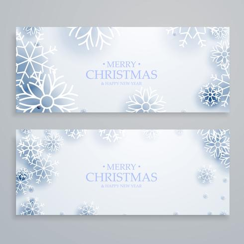 saubere weiße Frohe Weihnachten Banner mit Schneeflocken gesetzt