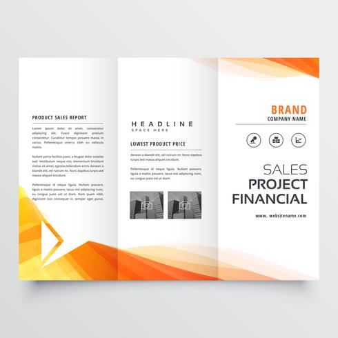 company trifold brochure design with yellow wave