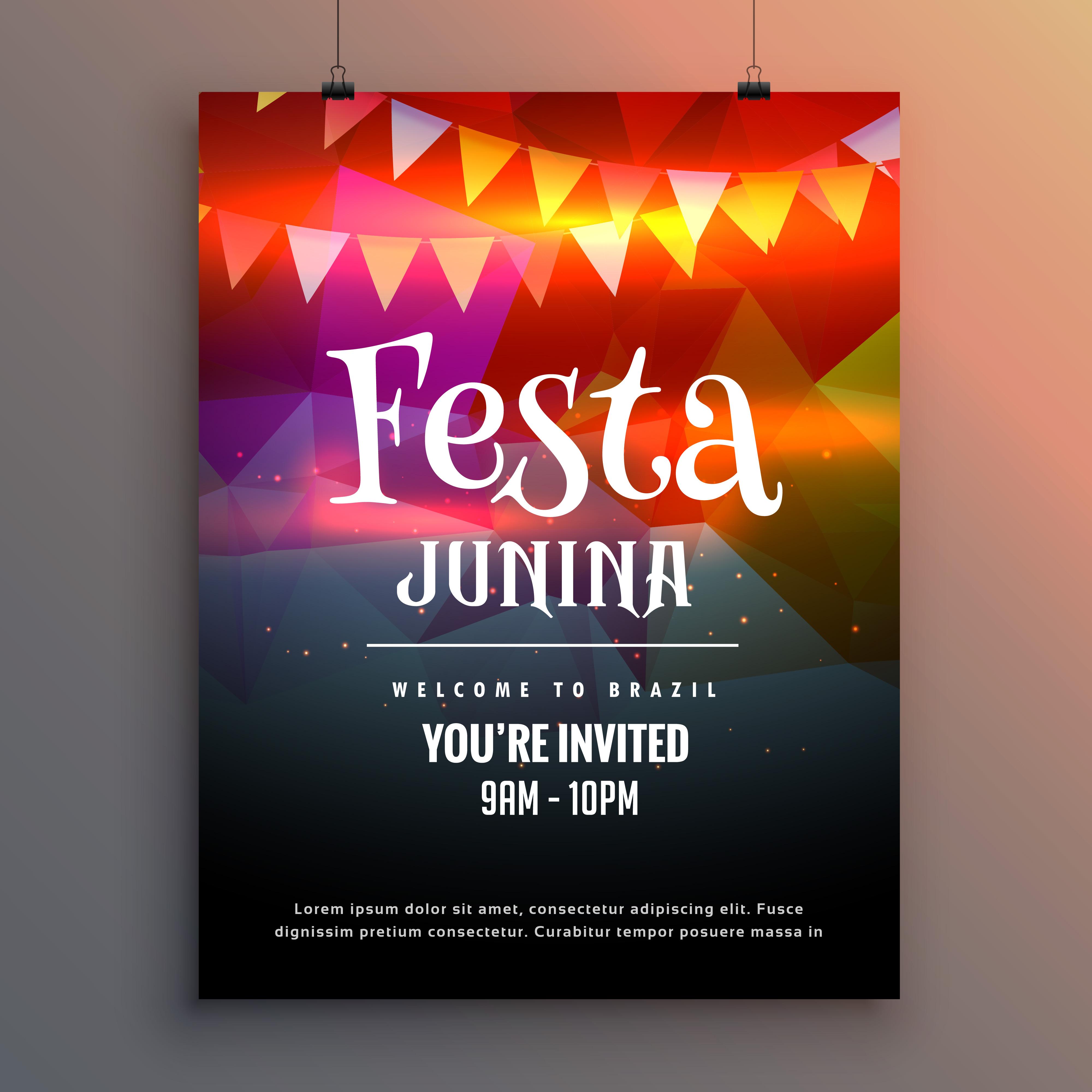 Festa Junina Party Invitation Flyer Design Template