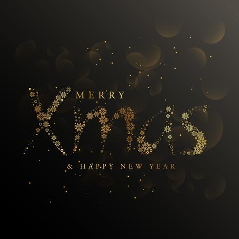 xmas lettering made with golden snowflakes