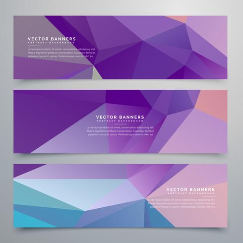 abstract purple banners set of three