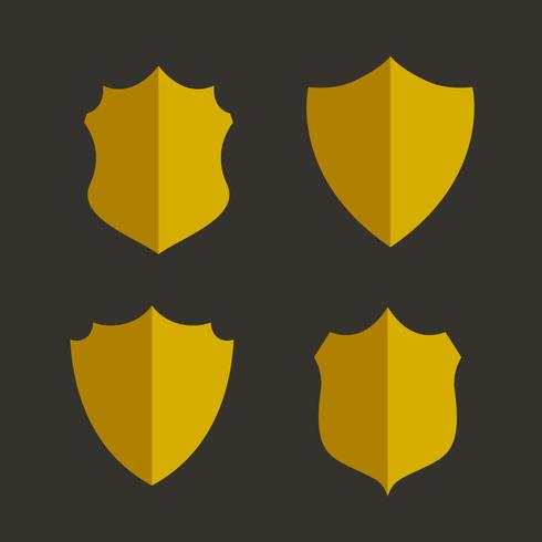 four golden badges and labels design set