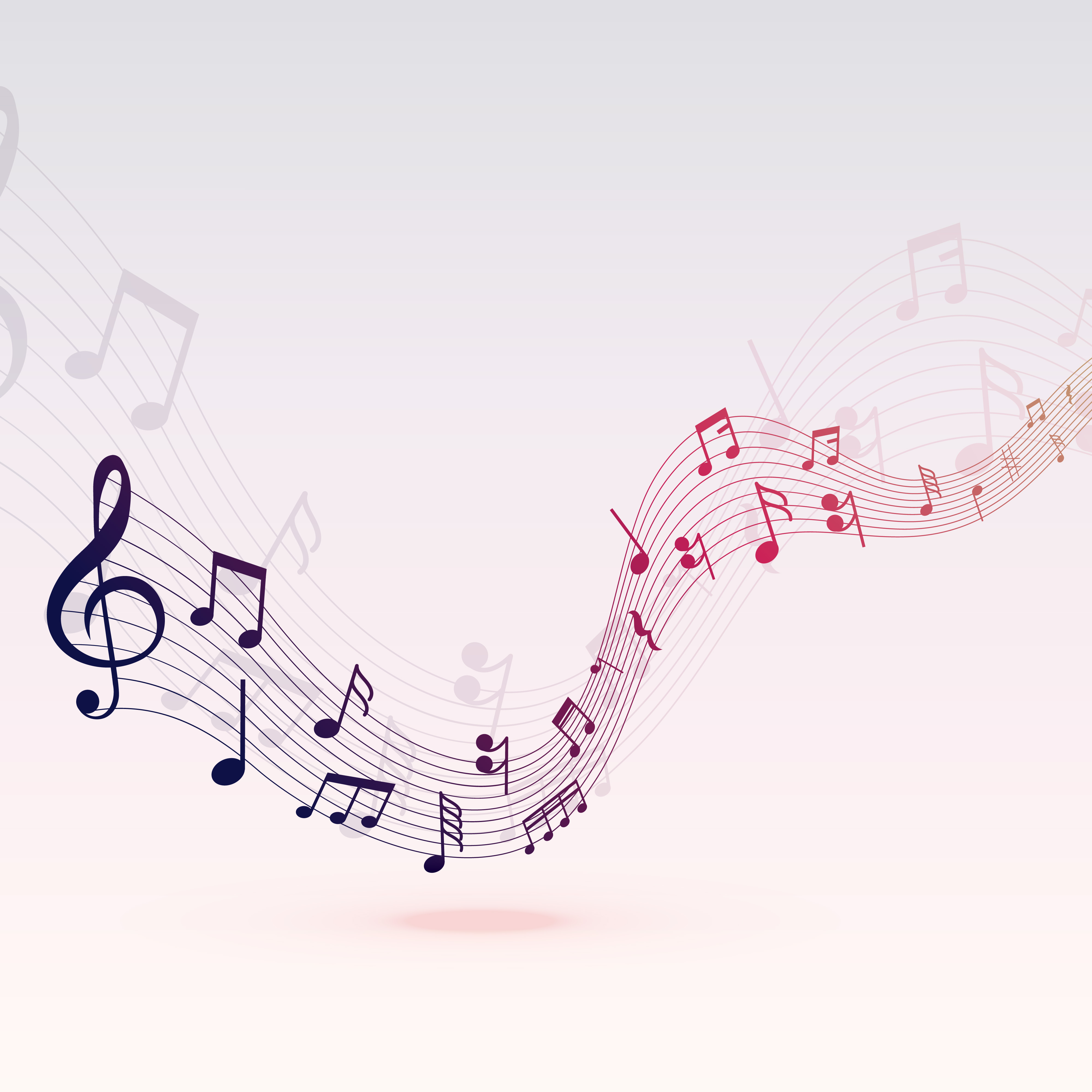 beautiful musical notes wave background design - Download ...