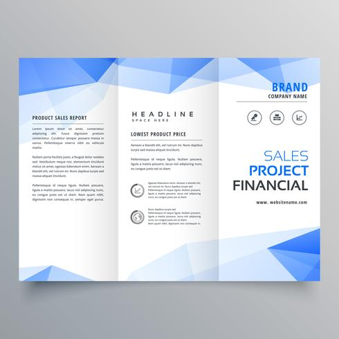 blue triangle shape trifold brochure design template