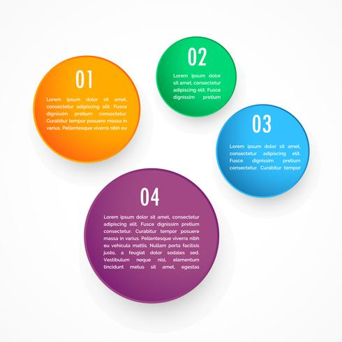 colorful four circles steps infographic template