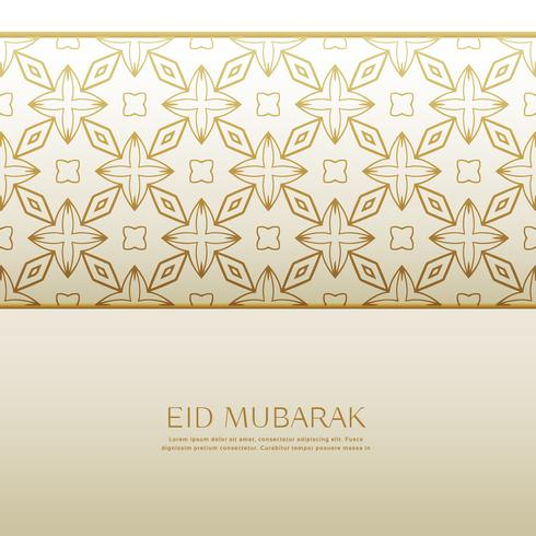 islamic eid festival background with golden pattern