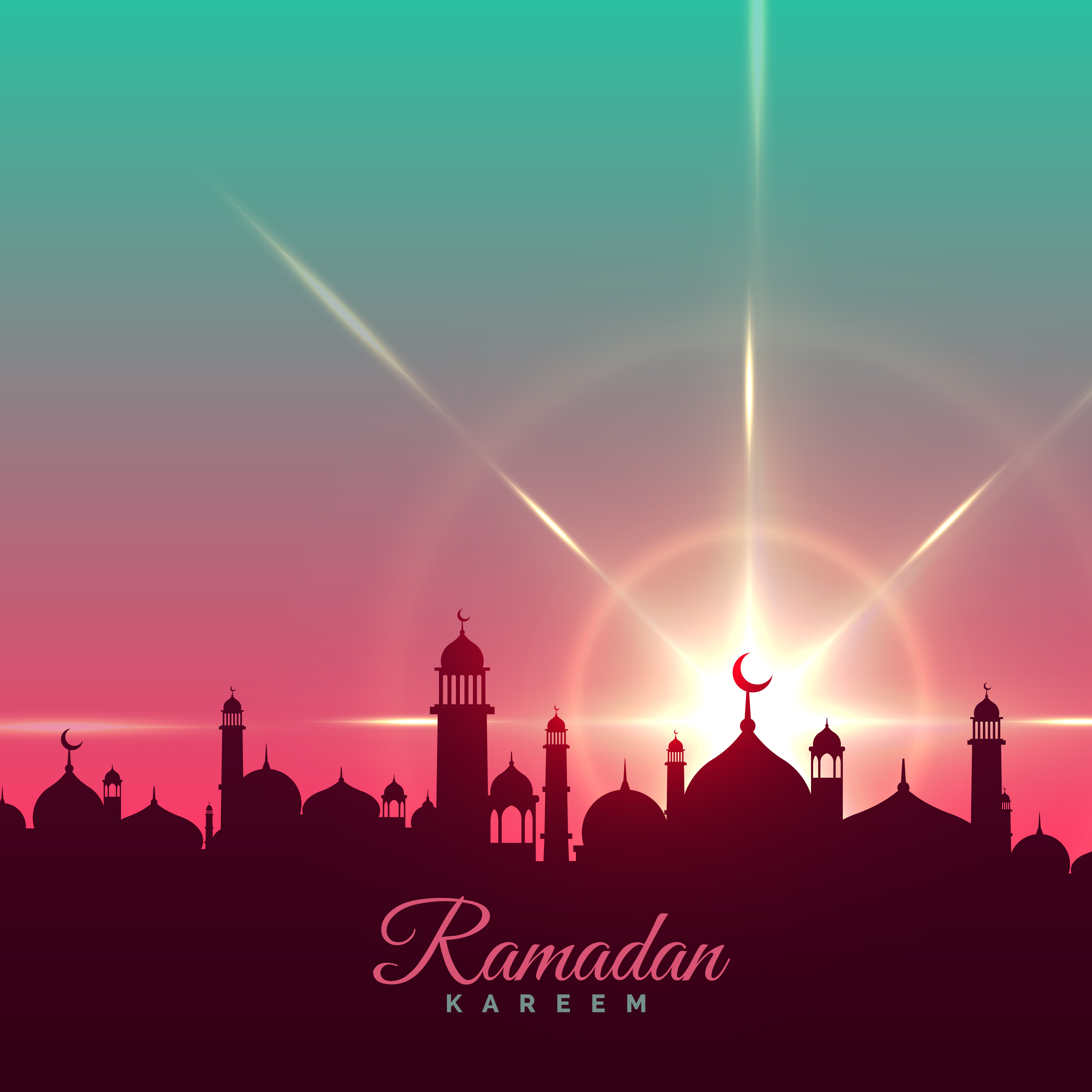 Ramadan Kareem Greeting Background With Mosque Silhouette
