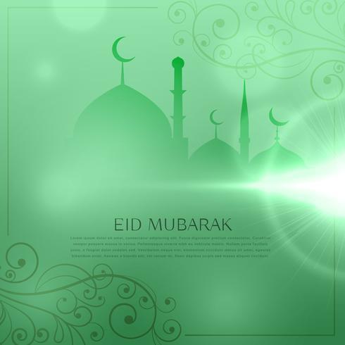 elegant eid festival greeting design in green background