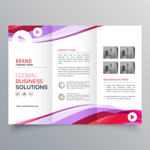 business trifold brochure design with colorful wave shape